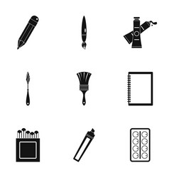 designer workspace icons set simple style vector image