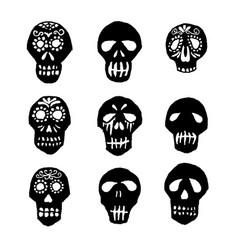 Dia de los muertos mexican sugar skulls set vector
