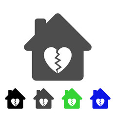 Divorce house heart flat icon vector