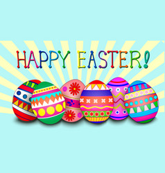 easter background with egg and ray vector image