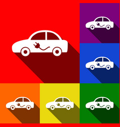 electric car sign set of icons with flat vector image