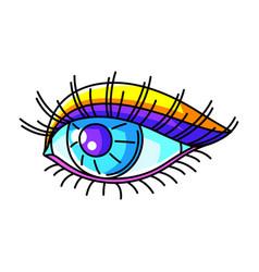 Eye colorful cute cartoon icon vector