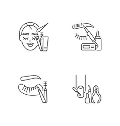 Face care linear icons set vector