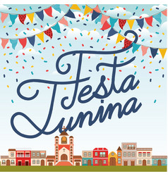 Festa junina with village scene and garlands vector