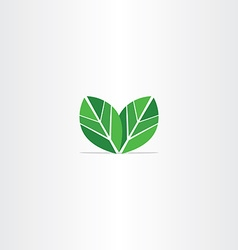 Green leaves logo eco icon vector