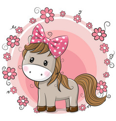 Greeting card cute horse with flowers vector