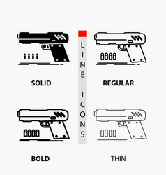 gun handgun pistol shooter weapon icon in thin vector image