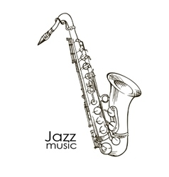 hand drawn saxophone vector image