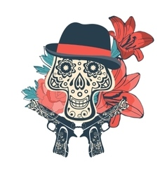 Hand drawn sugar skull with flowers and guns vector image vector image