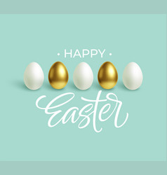 happy easter festive blue background with gold vector image