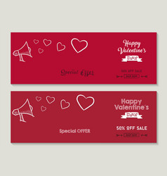 happy valentines day sale social media covers set vector image
