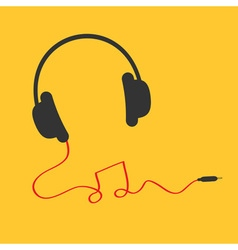 Headphones icon with red cord in shape of note vector image