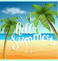 Hello summer summer time the poster against the vector