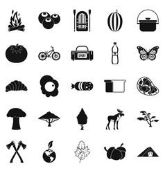 Hiking in wilderness icons set simple style vector