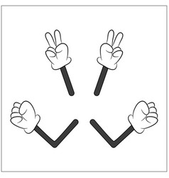 image of cartoon human gloves hand with arm vector image