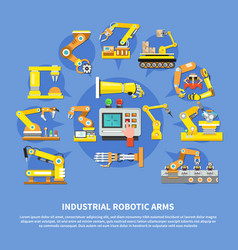 industrial robotic arms composition vector image