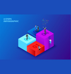 Isometric cubes with people infographic on vector