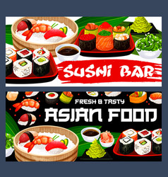 japanese sushi rolls nigiri hosomaki and uramaki vector image