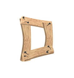 Letter d wood board font plank and nails alphabet vector
