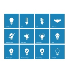 Light bulb and CFL lamp icons on blue background vector image