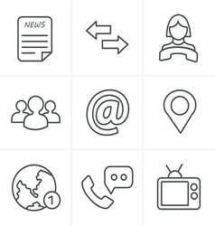 Line Icons Style Media and communication icons vector image