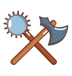 medieval battle ax and mace icon cartoon style vector image