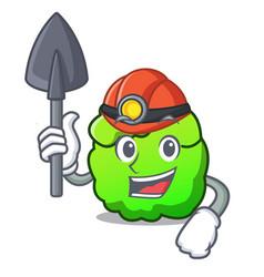 Miner shrub mascot cartoon style vector