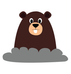 Mole from ground on white background vector