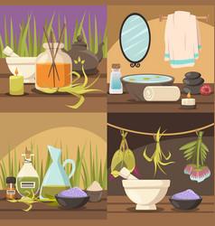 Natural cosmetology 2x2 design concept vector