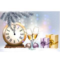 new year holiday background with a gift boxes and vector image
