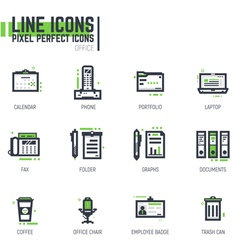 Office line icon set vector