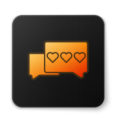 Orange glowing neon like and heart icon isolated vector