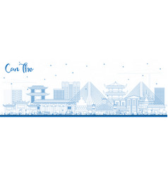 outline can tho vietnam city skyline with blue vector image