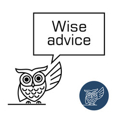 owl with speech bubble line style vector image