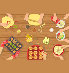 People cooking pastry and other food together view vector