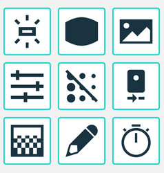 Picture icons set with wide angle wb sunny vector