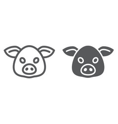 Pig line and glyph icon animal and zoo pork sign vector