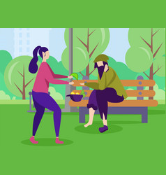 poor man and kind woman help support motivation vector image