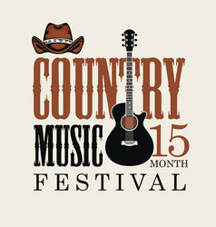 poster for country music festival with guitar and vector image