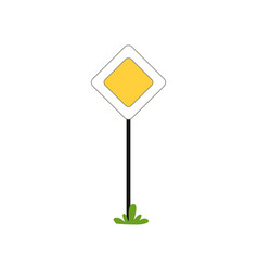 Priority traffic sign of main road in shape of vector