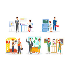 professions flat set office vector image