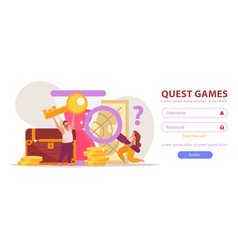 Quest games login page vector