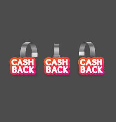 realistic detailed 3d wobbler cash back labels set vector image