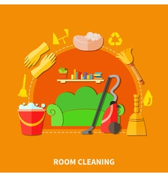 Room Cleaning Round Composition vector image