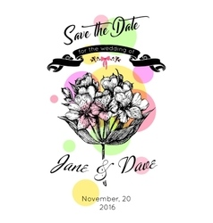 Save the date invitation template with astromeria vector image