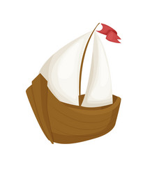 sea boat little fishing ship sailboat flat vector image