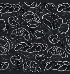 Seamless patterns with different breads pretzel vector