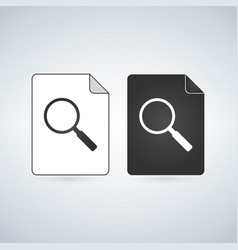 search document file icon with magnifying glass vector image
