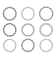 set decorative vintage hand drawn round frames vector image