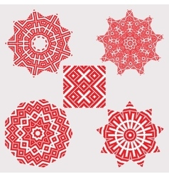 Set ethnic ornament mandala patterns in red color vector